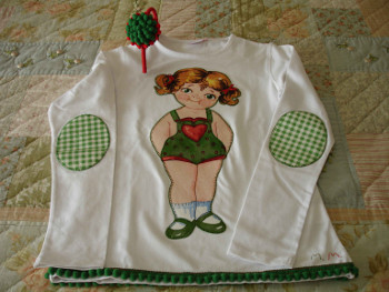 Camiseta muñequita tonos verdes
